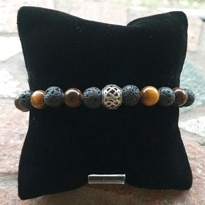 Men or women Lava rock & tiger eye celtic bracelet